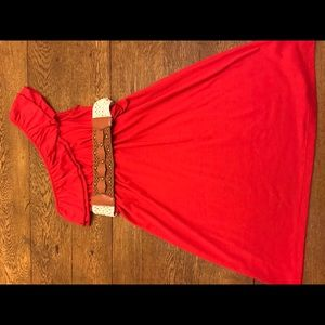 Red, one shoulder ruffle dress